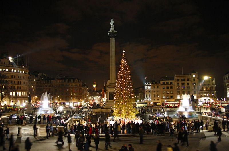 Trafalgar square - london christmas lights