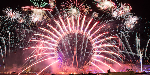 London new year - southbank fire works