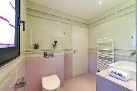 cool pastel bathroom in Corsica - Di Paci luxury apartment