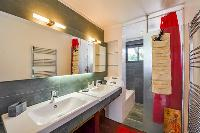 cool double-sink bathroom vanity in Corsica - Maquis luxury apartment