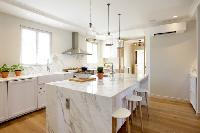 awesome kitchen island of Cannes - Villa Le Pontiel luxury apartment