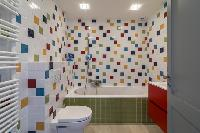 fascinating mosaic bathroom tiles in Monaco - Vue sur Mer Villa luxury apartment