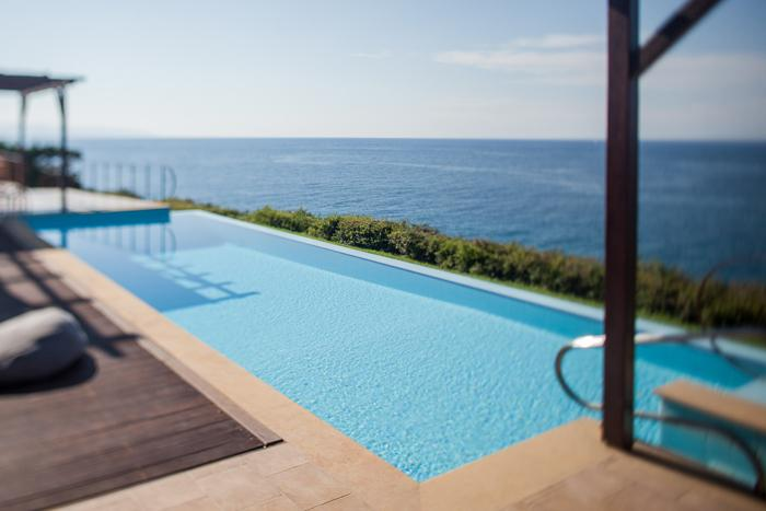 cool swimming pool of Kefalonia Absolute Ai-Helis Villas Melodia luxury vacation rental