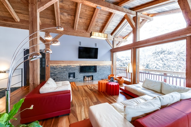 delightful living room of French Alps - Le Gypaète luxury apartment
