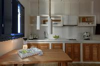 pleasant kitchen of Santorini Sea Dream luxury home, perfect vacation rental