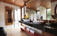 cool double-sink bathroom vanity in Thailand - Baan Wanora luxury apartment