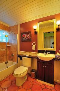 clean toilet and bath in Bahamas - Villa Allamanda Queen Studio B luxury apartment