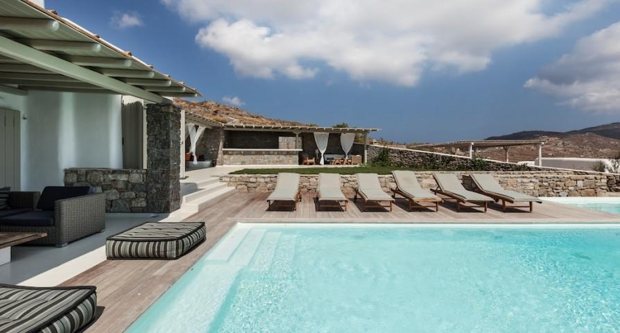 cool swimming pool of Mykonos Villa Light Pearl luxury holiday home and vacation rental