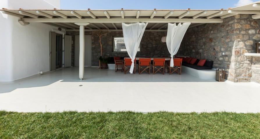 cool lanai of Mykonos Villa Light Pearl luxury holiday home and vacation rental