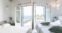 clean bedroom linens in Villa Melia Mykonos luxury holiday home and vacation rental