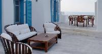 cool patio of Villa Melia Mykonos luxury holiday home and vacation rental