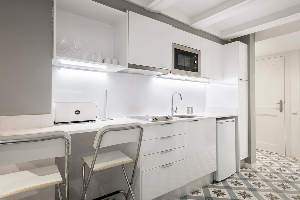 modern kitchen appliances in Barcelona - Holy Family Tiny Studio 1 luxury apartment with balcony