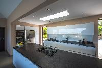 swanky kitchen of Saint Barth Villa Open Space luxury holiday home, vacation rental