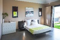 fresh bedroom linens in Saint Barth Villa Open Space luxury holiday home, vacation rental