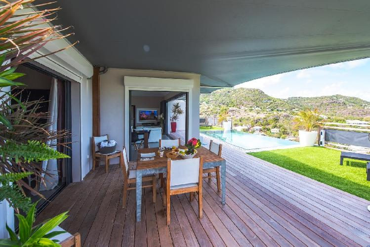 cool garden and pool of Saint Barth Villa Open Space luxury holiday home, vacation rental