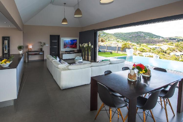 cool lanai of Saint Barth Villa Open Space luxury holiday home, vacation rental