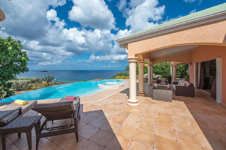 cool swimming pool of Saint Barth Villa Sea Bird luxury holiday home, vacation rental