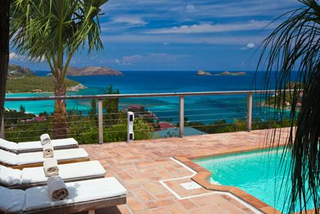 cool swimming pool of Saint Barth Villa Sunrise luxury holiday home, vacation rental