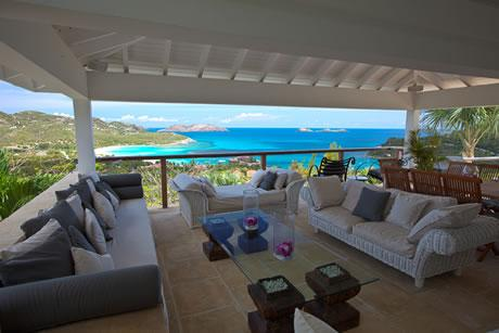 awesome sea view from Saint Barth Villa Sunrise luxury holiday home, vacation rental