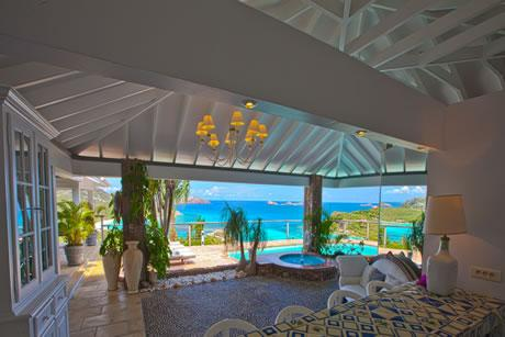 amazing sea view from Saint Barth Villa Sunrise luxury holiday home, vacation rental