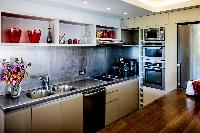 cool modern kitchen of Saint Barth Villa Lenalee luxury holiday home, vacation rental
