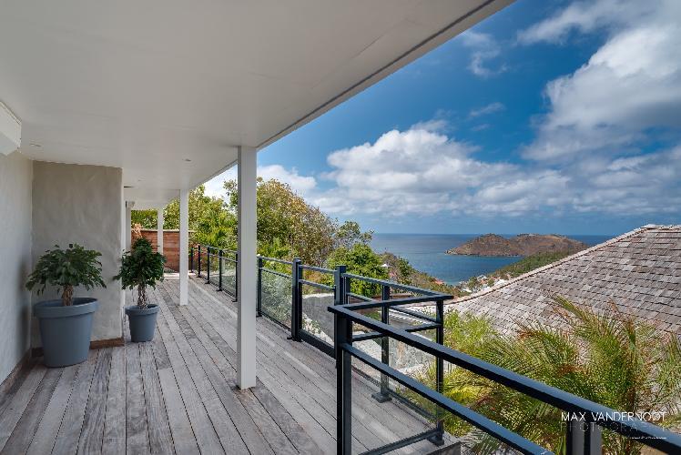 cool balcony of Saint Barth Villa Lenalee luxury holiday home, vacation rental