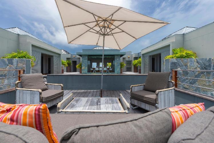 nifty balcony of Saint Barth Villa Lagon Vert luxury holiday home, vacation rental