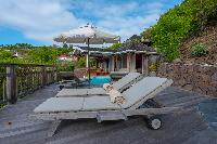 cool sun loungers of Saint Barth Villa Petit Lagon luxury holiday home, vacation rental