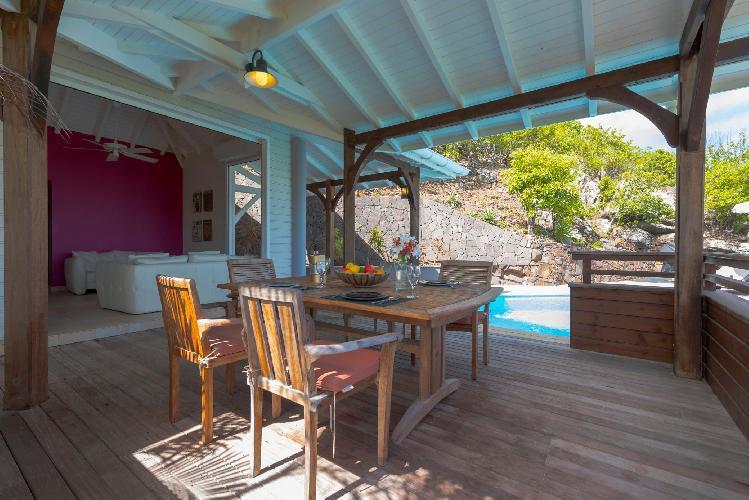 cool terrace of Saint Barth Villa Petit Lagon luxury holiday home, vacation rental
