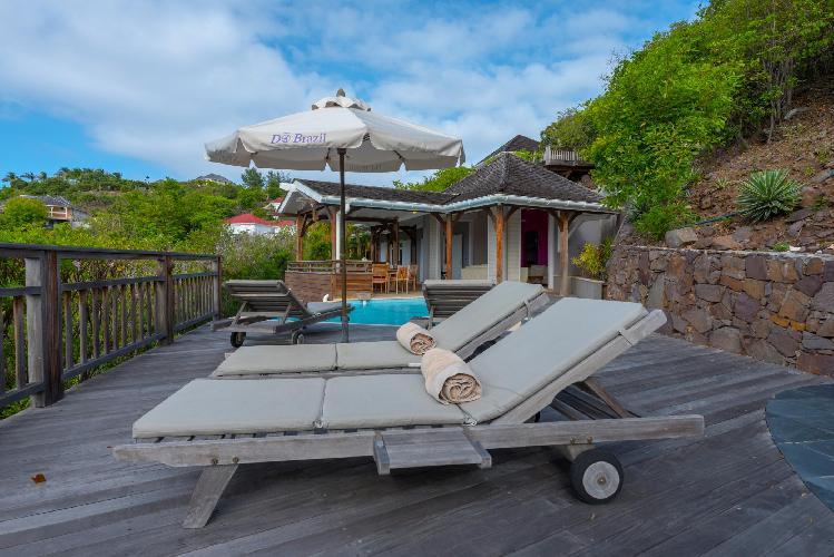 cool sun loungers of Saint Barth Villa Petit Lagon luxury holiday home, vacation rental