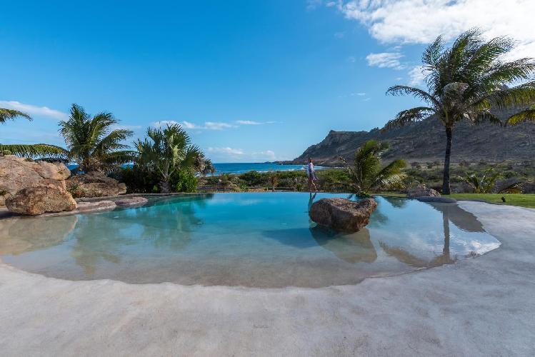 cool swimming pool of Saint Barth Villa La Roche Dans l'Eau luxury holiday home, vacation rental