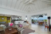 cool living room of Saint Barth Villa Lagon Bleu luxury holiday home, vacation rental