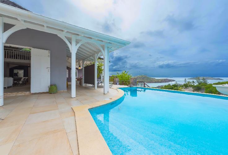 cool swimming pool of Saint Barth Villa Lagon Jaune luxury holiday home, vacation rental