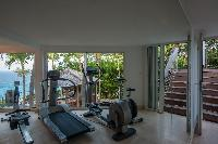 amazing gym of Saint Barth Villa Gouverneur View luxury holiday home, vacation rental