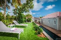 cool lawn of Saint Barth Villa Kaloo luxury holiday home, vacation rental