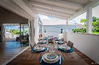 cool dining area in Saint Barth Villa Kaloo luxury holiday home, vacation rental