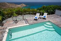 cool poolside of Saint Barth Villa La Magnifica luxury holiday home, vacation rental