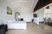fresh bedroom linens in Saint Barth Villa La Magnifica luxury holiday home, vacation rental