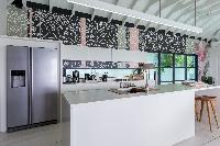 cool modern kitchen of Saint Barth Villa Rose Dog luxury holiday home, vacation rental