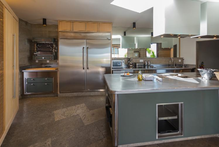 cool kitchen of Saint Barth Villa Castle Rock luxury holiday home, vacation rental