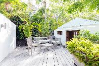 cool garden of Saint Barth Villa Lama luxury holiday home, vacation rental