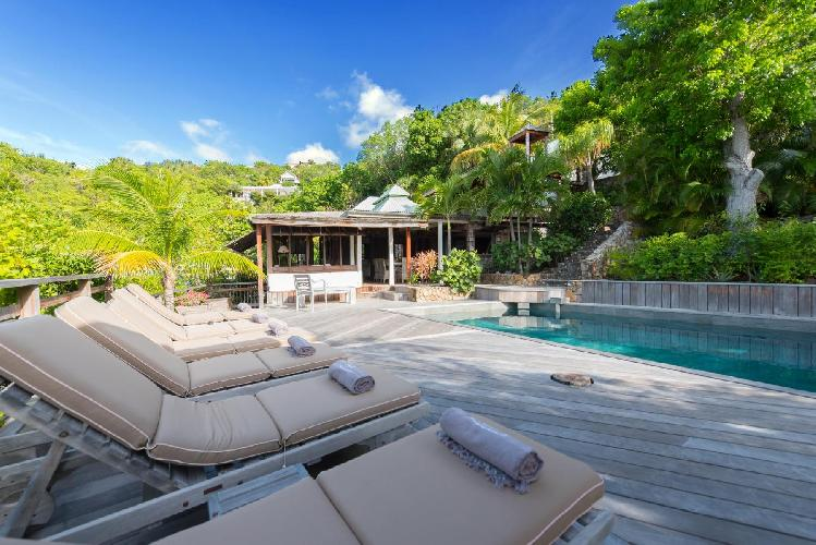 cool swimming pool of Saint Barth Villa Lama luxury holiday home, vacation rental