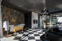 cool harlequin tiles in Saint Barth Luxury Villa Gouverneur Estate holiday home, vacation rental