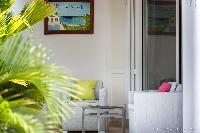 pretty patio of Saint Barth Villa Rose Des Vents holiday home, luxury vacation rental