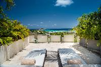 cool terrace of Saint Barth Villa Rose Des Vents holiday home, luxury vacation rental