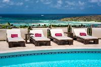 nice sun loungers at Saint Barth Villa Rose Des Vents holiday home, luxury vacation rental