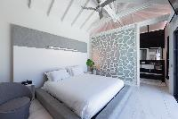 fresh bedroom linens in Saint Barth Villa Rose Dog Estate holiday home, luxury vacation rental