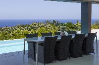 beautiful lanai of Saint Barth Villa Rose Dog Estate holiday home, luxury vacation rental