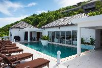 cool pool deck of Saint Barth Villa Bellevue luxury holiday home, vacation rental