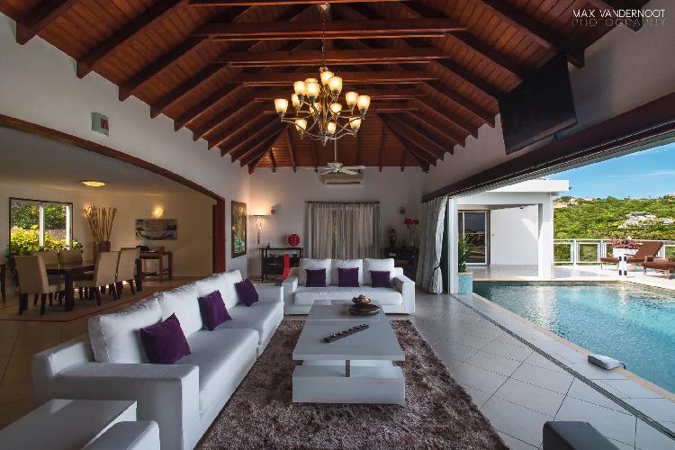 cool lanai of Saint Barth Villa Bellevue luxury holiday home, vacation rental